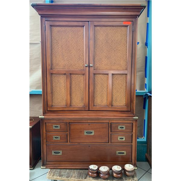 """8-Drawer Nautica Armoire w/ Brass Corners, Woven Detail Panels (47"""" W x 22"""" D x 77"""" H without feet)"""