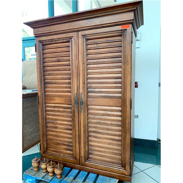 """Tommy Bahama Louvered Slat Front Armoire (50"""" W x 26"""" D x 76"""" H without feet), Feet are 6"""" Tall"""