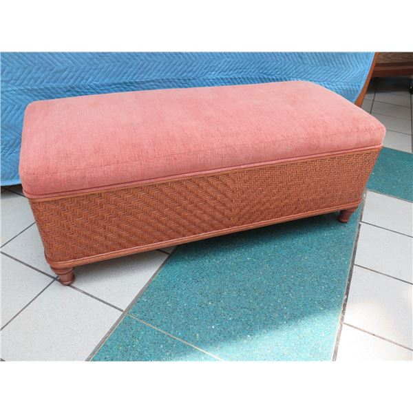 """Upholstered Woven Rattan Bench 51"""" W x 23"""" D x 20"""" H"""
