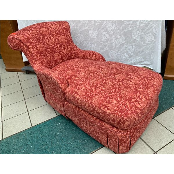 """Red Chinoiserie Upholstered Sydney Chaise 31"""" W x 50"""" D x 40"""" H"""