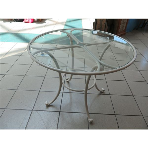 """Powder-Coated Metal Table Base w/Glass Top,  36"""" Dia, 29"""" H. (has small scratch - see last photo)"""