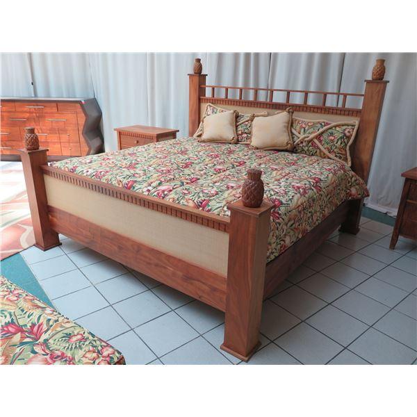 "Custom King 4-Post Koa Bed w/ Pineapple Accents, Box Spring & Matress 89"" W x 92"" D x 67"" H. Bed cov"