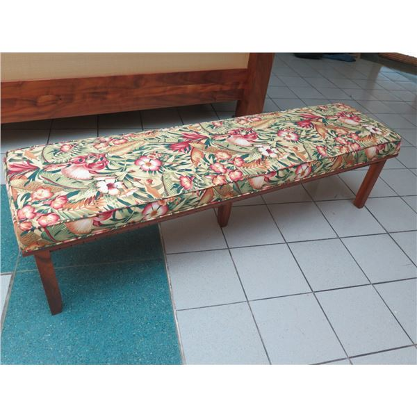 "Long Koa Bench, Upholstered Cushion 70"" W x 19"" D x 18.5"" H"