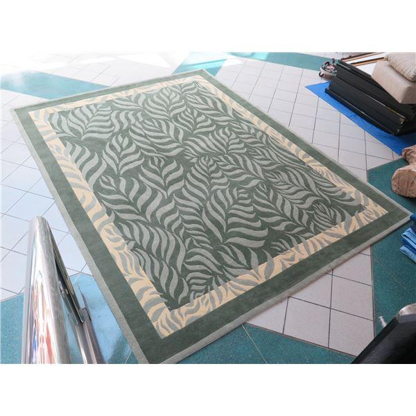 Indich Loma Handspun Himalayan Wool Area Rug 9' x 12', Made in Nepal, Monstera Motif