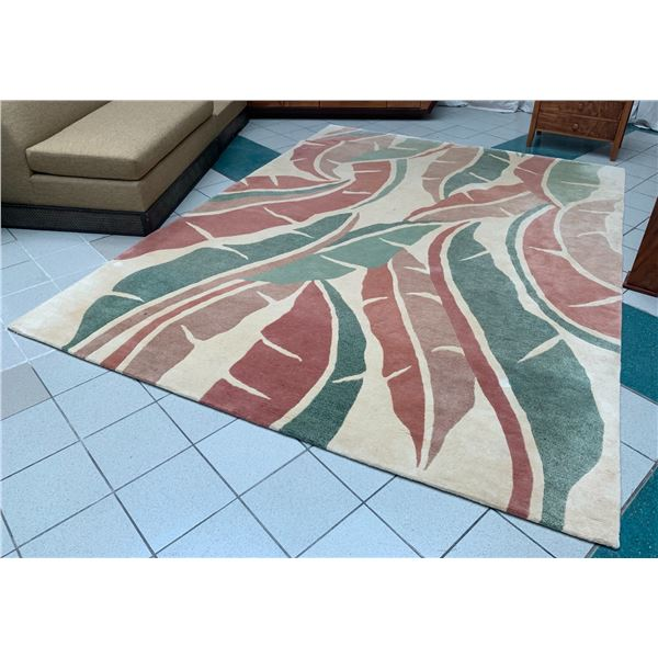 Maile Indich Collection Area Rug, Tropical Leaves 9' x 12'