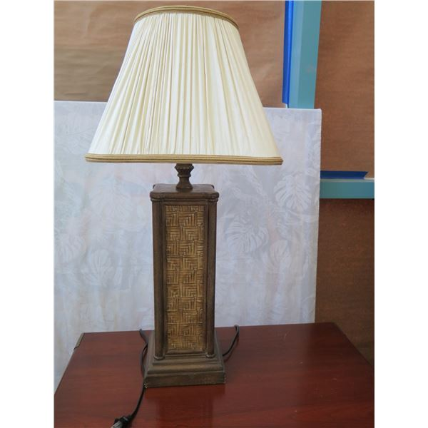 "Textured Woven Column Lamp  w/ Shade 34"" H"