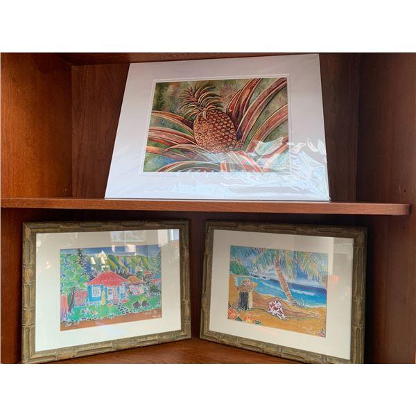 Qty 3 Lanai Art Prints (2 Framed) - Pineapple, Plantation Homes