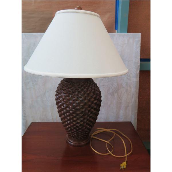 """Dark Woven Rattan Lamp w/ Shade 32"""" H"""