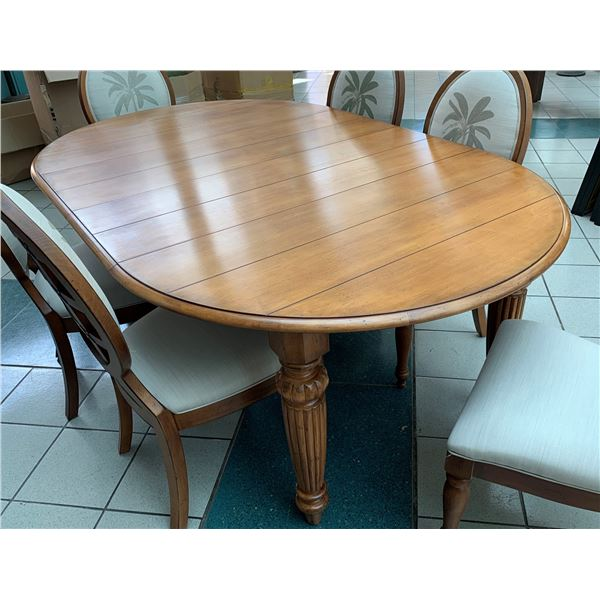 Wooden Oval Dining Room Table with Two Leaves 82x51x30.5H (chairs not included)