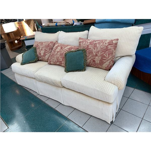 Patterned Oversized Chenille Sofa, Ivory, Includes Cushions