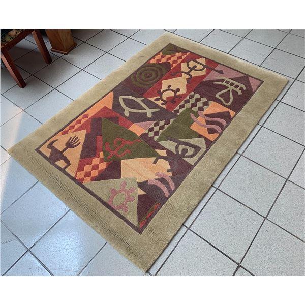 "Indich Collection ""Hawaiian Rugs"" Wool Area Rug, Petroglyph Motif 48"" x 71"""