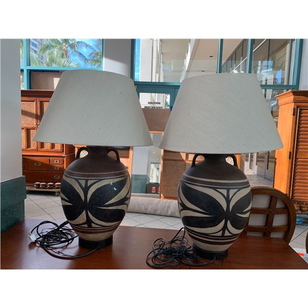"""Qty 2 Ceramic Hawaiian-Motif Table Lamps w/ Shades, 22""""H (one has a few scratches)"""