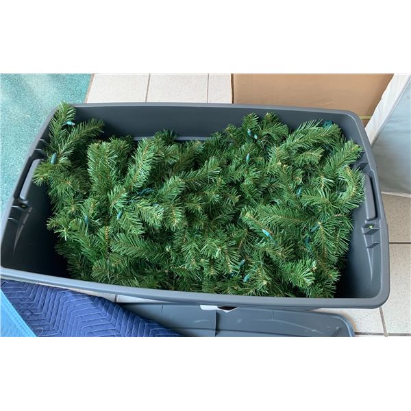 2 Large Plastic Bins Filled with Holiday Garlands (size of bin shown in last photo)