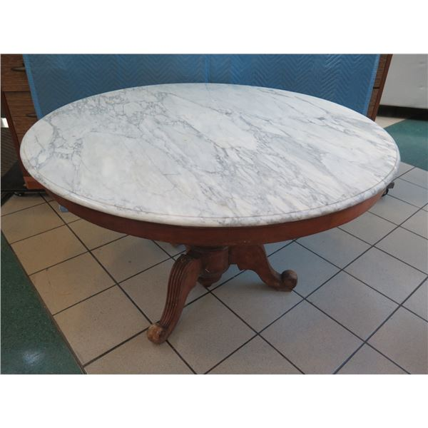 """Round Wooden Table w/ Marble Top  50"""" Dia, 30"""" H"""