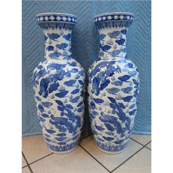 """Pair of 2 Tall Blue & White Porcelain Vases 29"""" H, 8"""" Dia."""