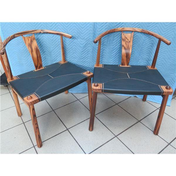 "Qty 2 Wishbone Chairs, Mango Wood and Leather Seats 23""W x 18""D x 30""H"