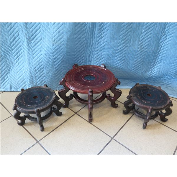 Qty 3 Wooden Planter Stands