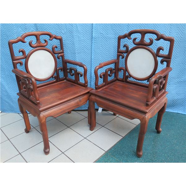 """Pair of Chinese Emperor Chairs with Marble Inlay 27"""" x 19"""" x 44"""" H"""