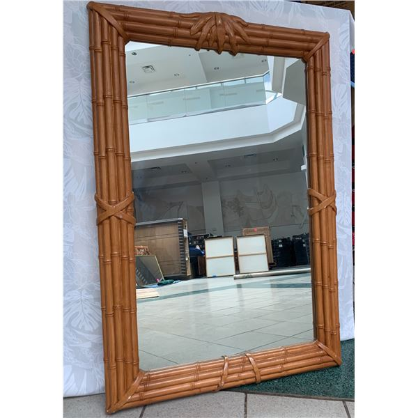 """Large Rattan-Look Mirror, Composite Material 31.5"""" x 48"""""""