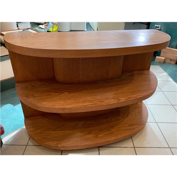 Curved Wooden Shelving Unit (middle shelf has crack)