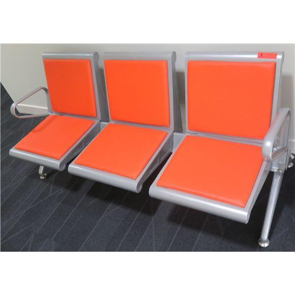 Metal 3 Seat Bench w/ Orange Seat & Back w/ Armrests