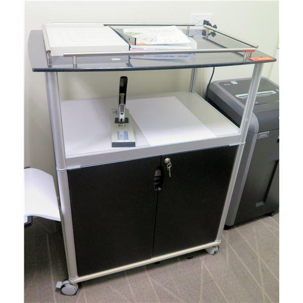 Rolling 2 Tier Cart w/ Locking Under-Cabinet & 2 Shelves