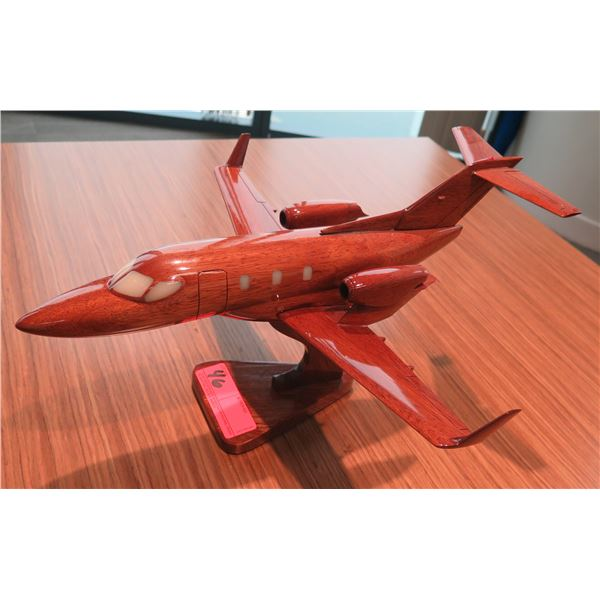 Wooden Model Airplane on Pedestal Base