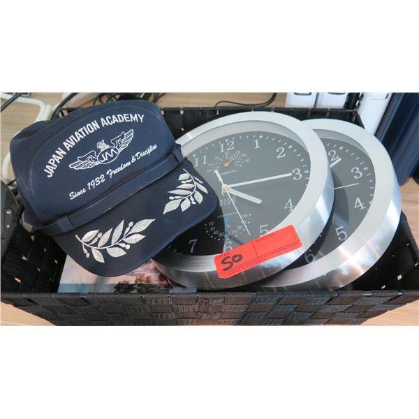 Qty 2 Wall Clocks & Japan Aviation Academy Ball Cap
