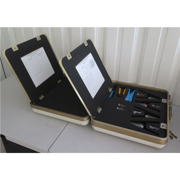 Qty 2 Daniels Mfg. Wire & Cable Strippers w/ Expansion Area in Hard Cases