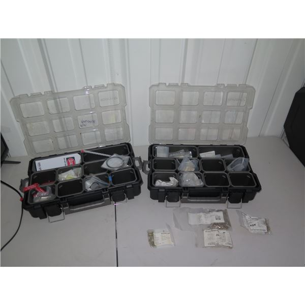 Qty 2 Organizer Trays of Aviation Hardware: Bolts, Screws, etc