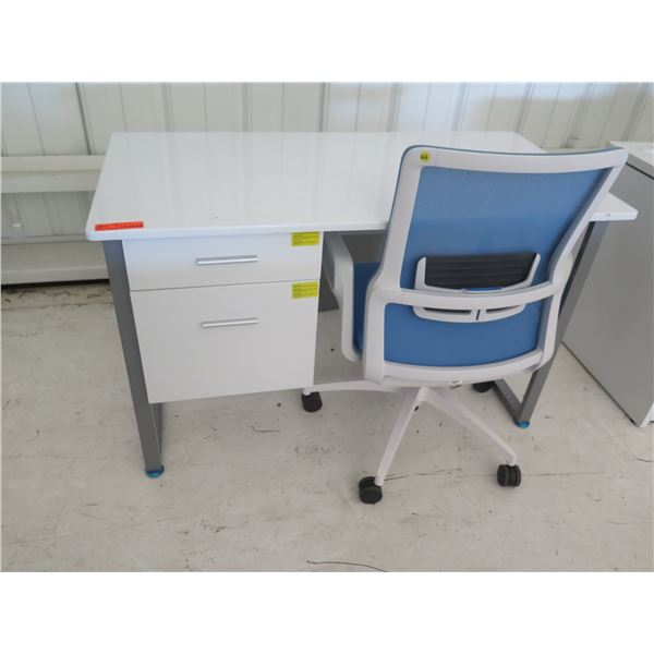 """White Desk w/ 2 Drawers & Rolling Blue Office Chair 42""""x24""""x30""""H"""