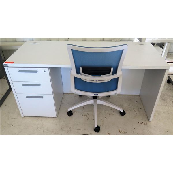 """White Desk w/ 3 Drawers & Rolling Blue Office Chair 60""""x24""""x29""""H"""