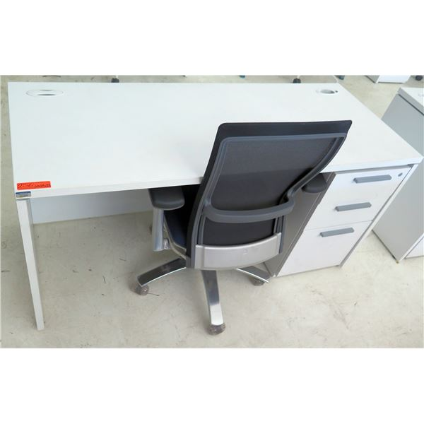 """White Desk w/ 3 Drawers & Rolling Black Office Chair 60""""x24""""x29""""H"""