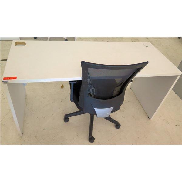"White Desk w/ Rolling Black Office Chair 60""x24""x29""H"