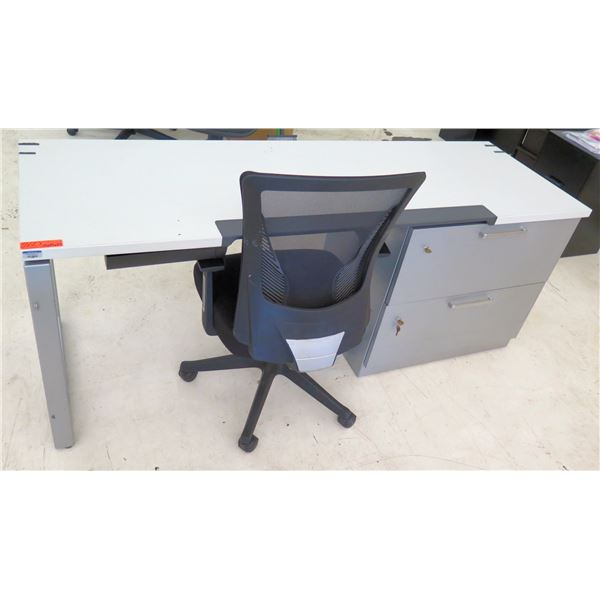 """White Desk w/ 2 Drawers & Rolling Black Office Chair 72""""x24""""x29""""H"""
