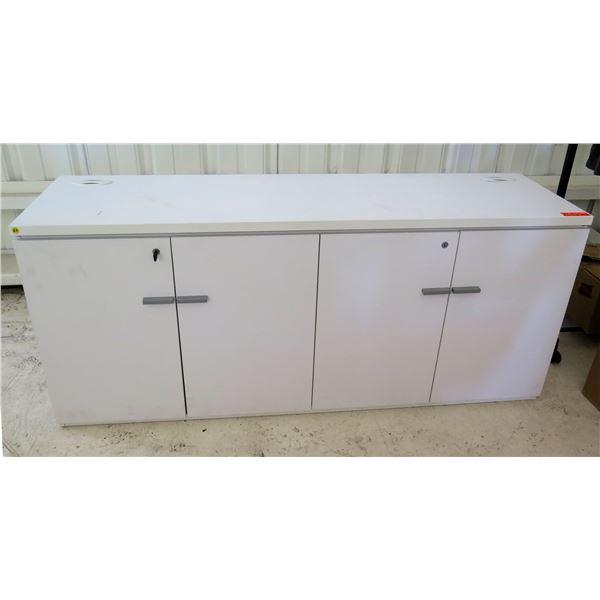 "White 4 Door Locking Cabinet w/ 2 Shelves Inside 66""x18""x29""H"