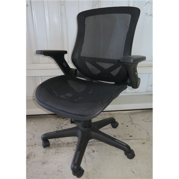 Whalen Furniture Black Mesh Rolling Executive Office Arm Chair