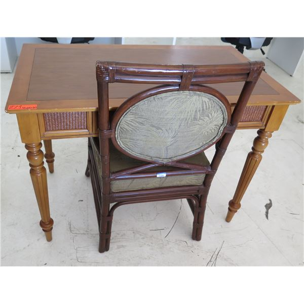 """Wooden Table w/ 1 Drawer & Wood Upholstered Arm Chair 42""""x24""""x30""""H"""
