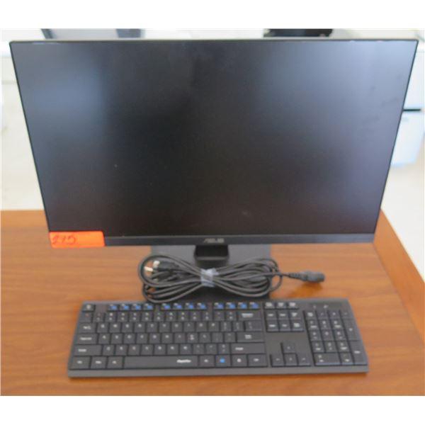ASUS VA24E Monitor w/ Cords & Keyboard