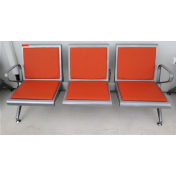 Metal-Frame 3-Seat Airport Style Seats - Orange