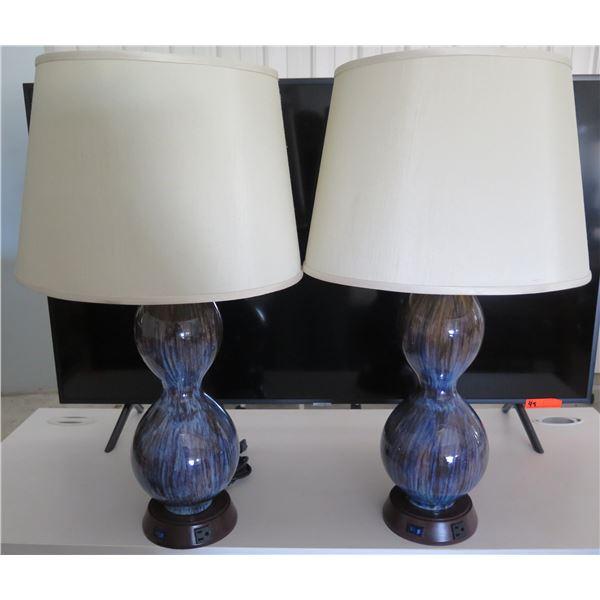 Qty 2 Ceramic Blue Glaze Base Lamps w/ White Shades & Cords