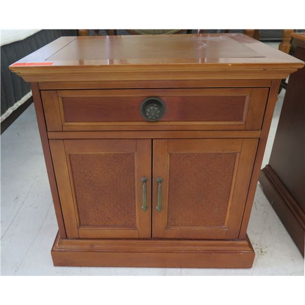 """Wooden End Table w/ Drawer, Contents & 2 Door Cabinet 24""""x18""""x24""""H"""