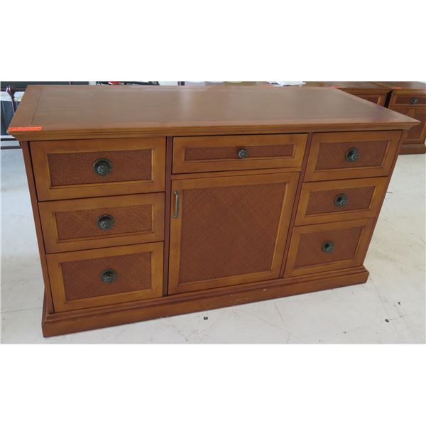 "Wooden Cabinet w/ 7 Drawers & 1 Door Cabinet 58""x24""x32""H"