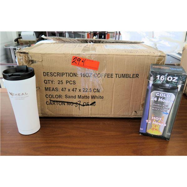 "Box of 25 Coffee Tumblers 16oz Hot/Cold w ""HEAL"" Logo"