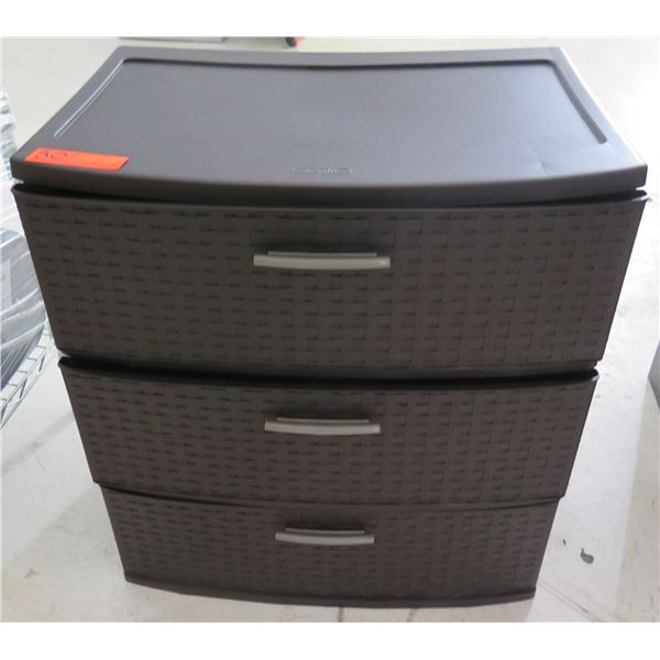 Sterilite Brown Curved 3 Drawer Storage Cabinet