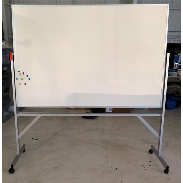 Uline White Board in Aluminum Frame w/ Rolling Stand