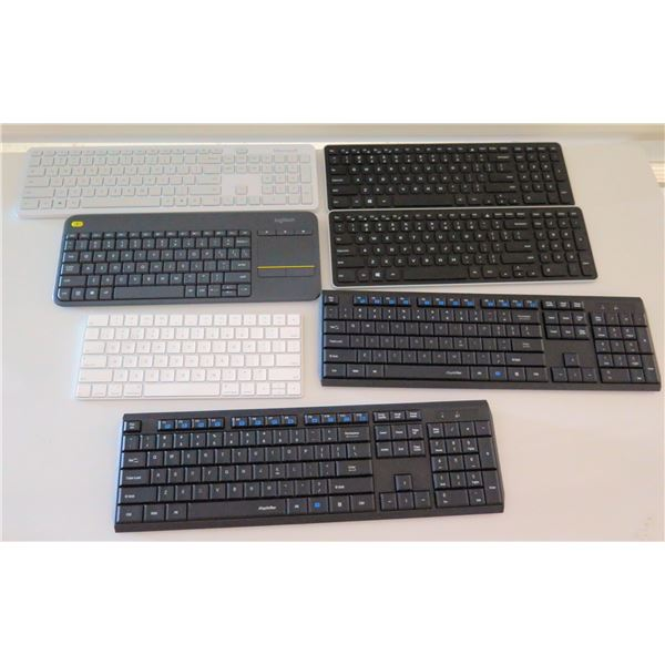Qty 7 Misc Computer Keyboards: Dell, Logitech, Apple, etc