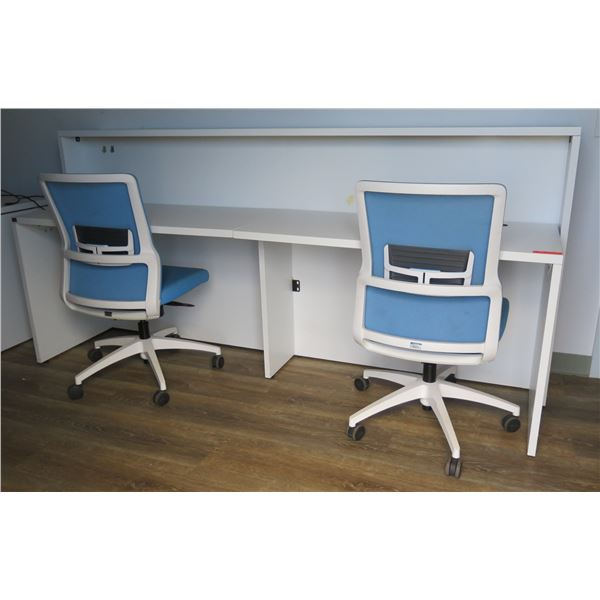 """White Double Desk w/ 2 Rolling Blue Office Chair 90""""x27""""x43""""H"""