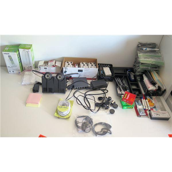 Misc Office Supplies: vTech Cordless Phones, Headphones, Binder & Paper Clips, etc