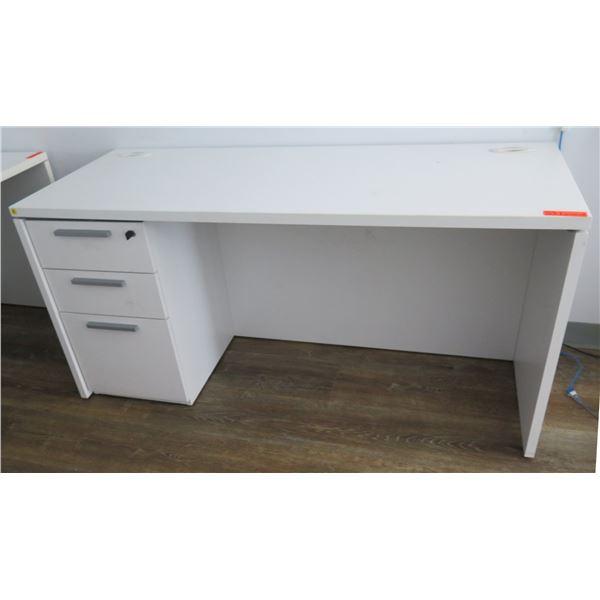 """White Desk w/ 3 Drawers 60""""x24""""x29""""H"""